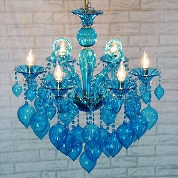 المتوسط المطبخ الأزرق الزجاج الثريا بار الإضاءة درج تعليق كرة زجاجية الثريا Luminaria فندق معلق تركيبات