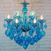 Mediterranean Kitchen Blue Glass Chandelier Bar Lighting Stair suspension glass ball Chandelier Luminaria Hotel hanging fixture