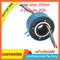 4 Circuits 20A 30mm Dia. Through Hole Slip Ring Conductive Through Bore Slip ring Hollow Shaft Slipring for Motor
