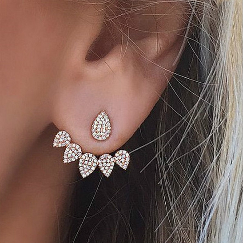 1pair Crystal Gold silver Ear Cuff Clip Leaf Stud Earrings For Women Jacket Piercing Earrings Jewelry золотые серьги по уху