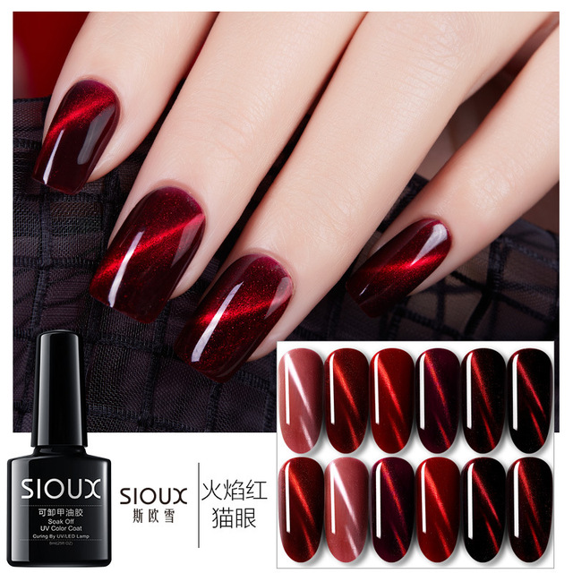 Sioux Chameleon Red Cat Eye Gel Nail Magnetic Polishes 6 Colors Glitter