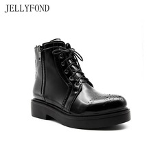 JELLYFOND 2017 Black Patent Leather Women Martin Boots Front Lace Up Platform Ankle Boots Designer Autumn Shoes Woman
