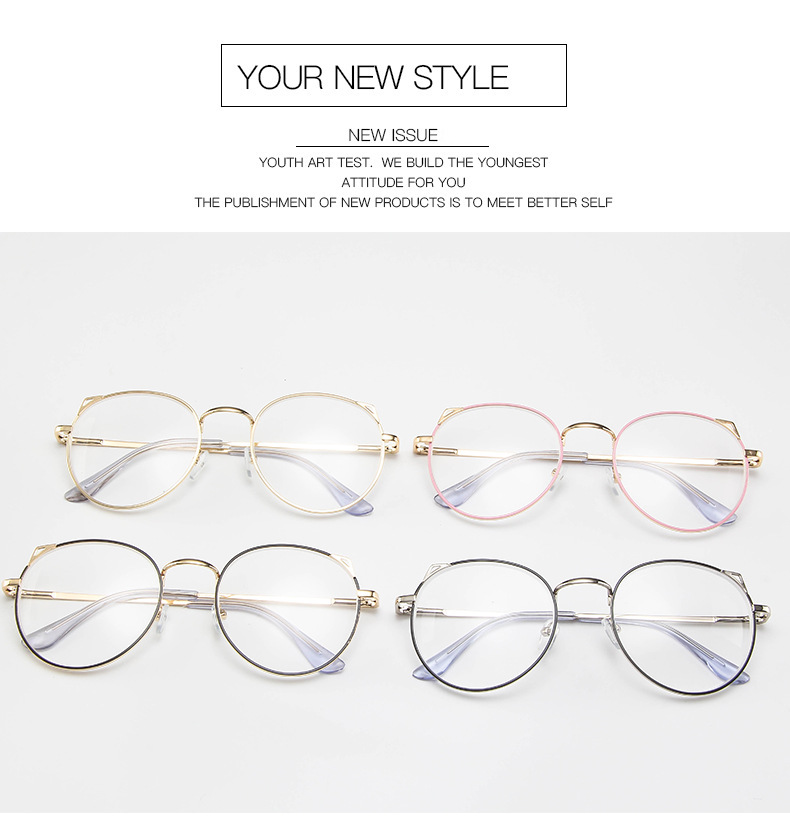 Lovely Cat Ears Sliver color Eyes Finished Myopia Glasses Sexy Women Nearsighted Optical Eyewear 100 150 200 250 300 400 in Men 39 s Eyewear Frames from Apparel Accessories