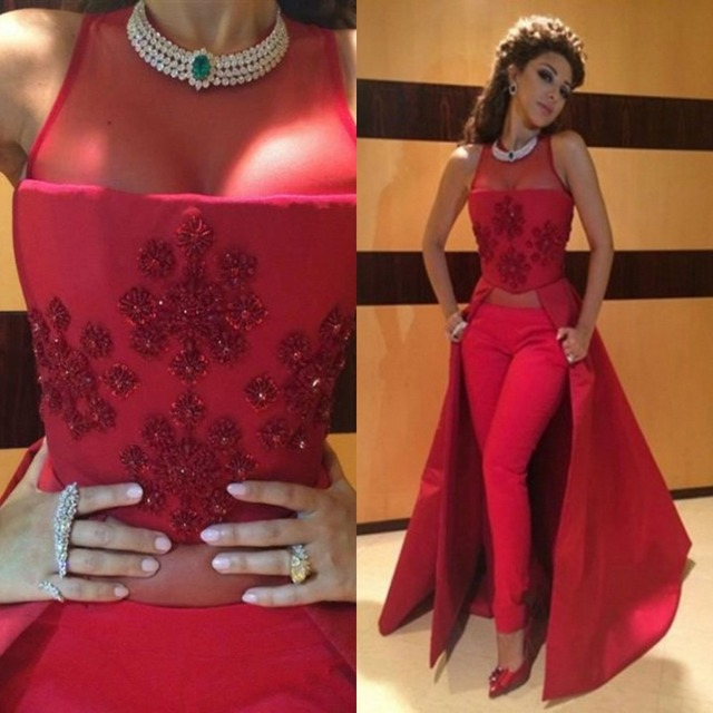 2016 Myriam Fares Hot Red Applique Crystal Top Stain Women Prom Dresses Without Pants No Trousers
