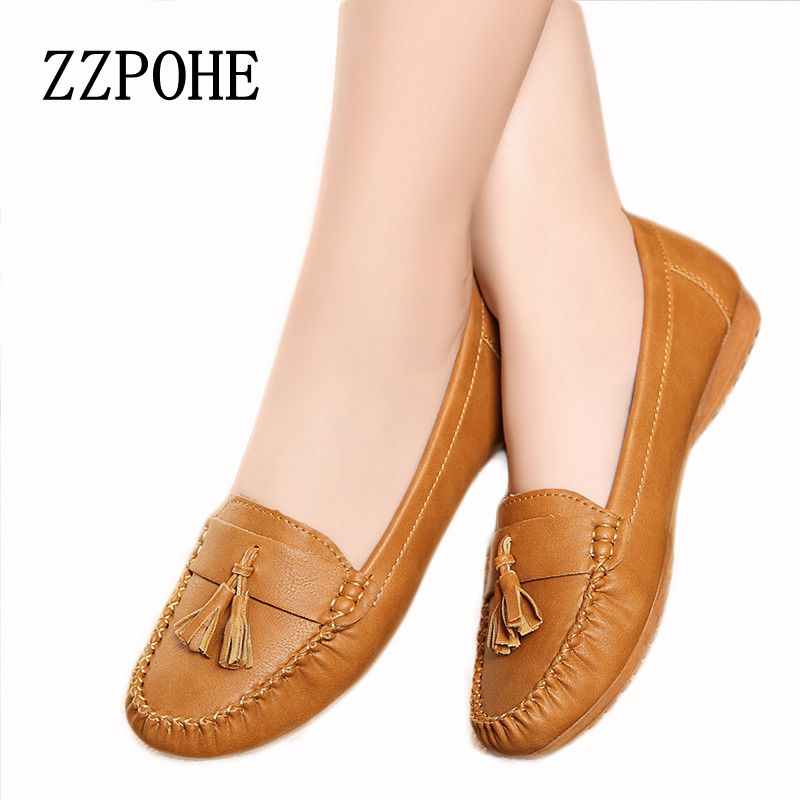 ZZPOHE New fashion tassels soft bottom Women Flats shoes elderly flat work shoes comfortable woman shoes Plus Size Driving shoes spring autumn soft bottom genuine leather comfortable flats large size women shoes flat with lace casual shoes elderly shoes