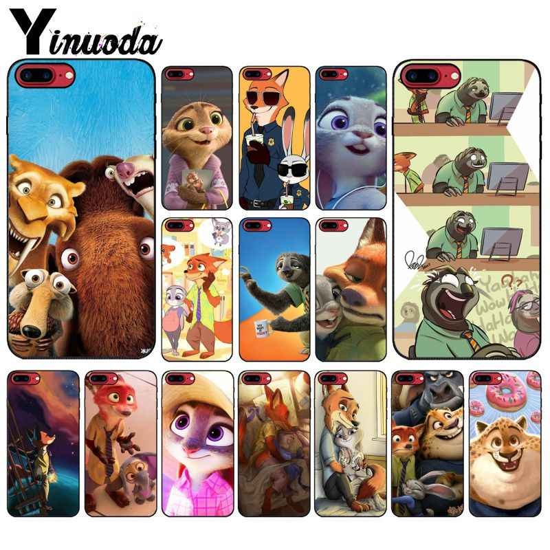 Yinuoda Zootopia Soft Silicone black Phone Case for Apple iPhone 8 7 6 6S Plus X XS MAX 5 5S SE XR Mobile Cover