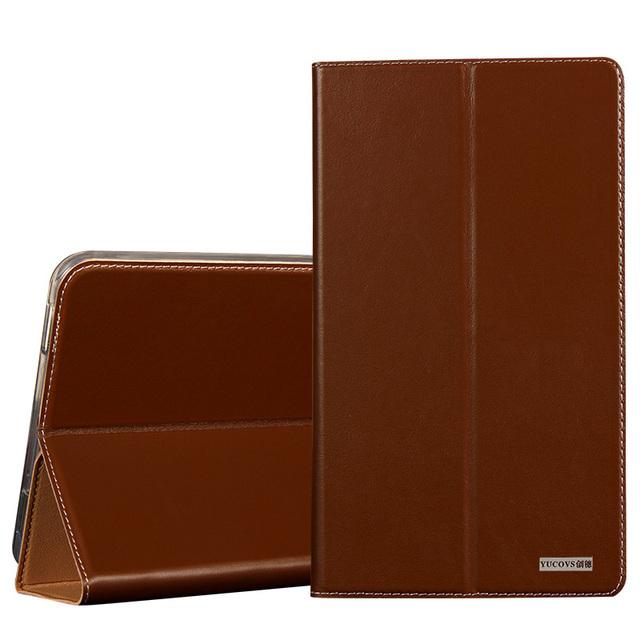 Luxo ver janela capa de couro genuíno stand case para samsung galaxy tab a 10.1 t580 t585 tampa saco do telefone
