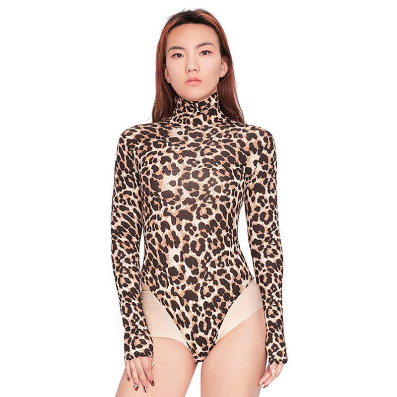 231461500794 Sexy Women Bodysuit Leopard Print Bodycon Jumpsuit Romper Turtleneck Long Sleeve  Slim Casual Embroidery 2018 Fashion