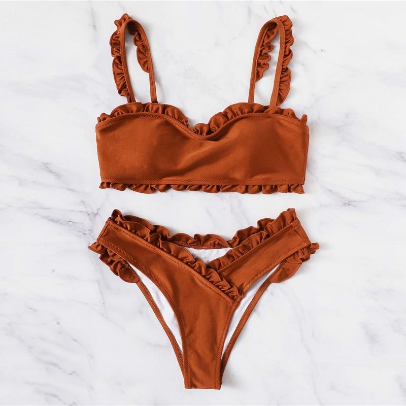 Frill Trim Top With Wrap Bikini 11