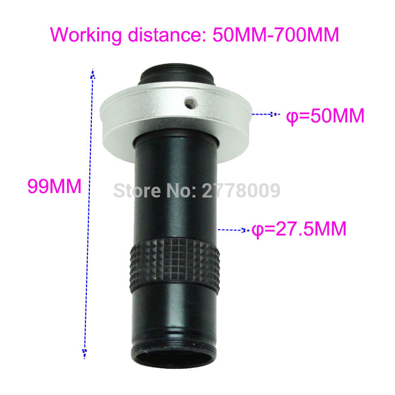 Industrial Microscope 5X 100X C mount Lens Large Field of View High Working Distance Monocular Video