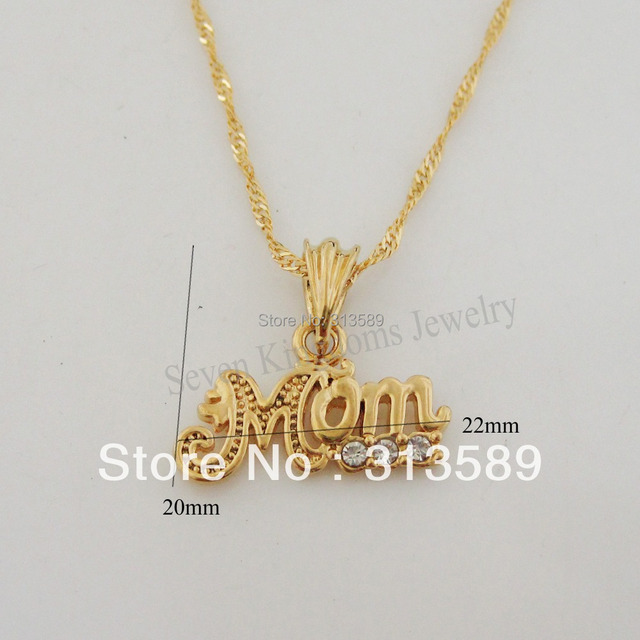 Min order 10 can mix design new yellow gold overlay 18 min order 10 can mix design new yellow gold overlay 18 necklacemom word pendant czgreat gift for mother mum in pendants from jewelry accessories on aloadofball Choice Image