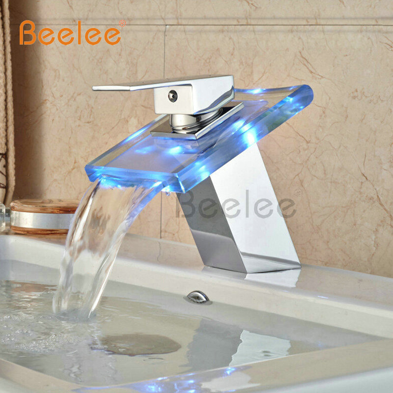 Beelee Chrome Brass Deck Mount Waterfall Glass Spout Bathroom Mixer Faucet Single Handle with LED Light BL0815F