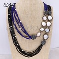 6 Strands wholesale jewelry natural pearl layers necklace handcrafted beaded necklace mix colors chain boho necklace 3945
