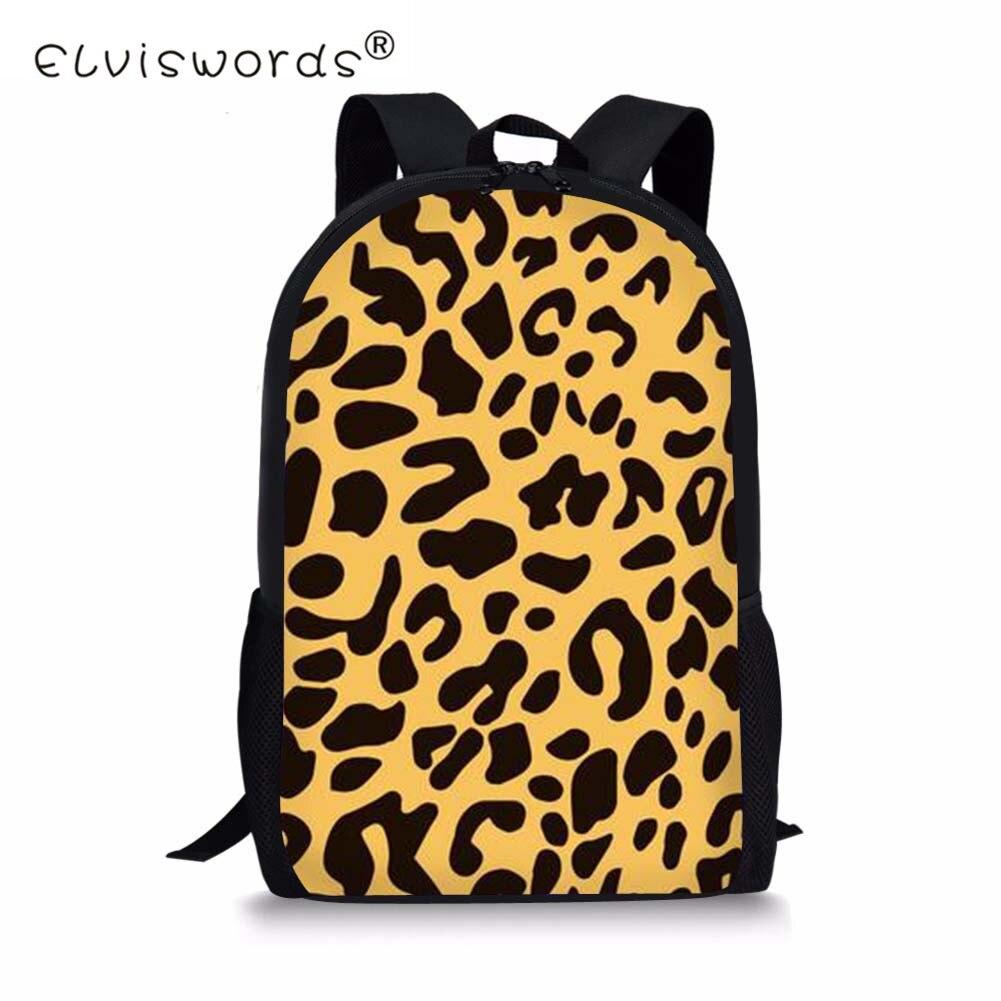 ELVISWORDS Childrens School Bags Leopard Printing Kids Schoolbags for Primary School Satchel Children Girls Bookbags Mochila