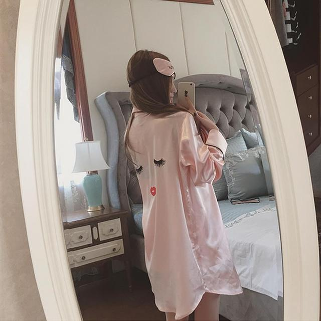 Long Sleeve Ladies Sexy Temptation Lingerie Suit Imitation Silk Pajamas Suspenders Nightdress Sexy Nightgown W333