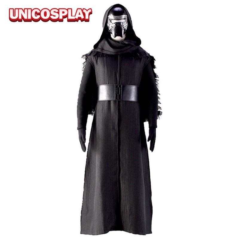 Star Wars Costume The Force Awakens Kylo Ren Cosplay Black Robe Men's Set Halloween Cloak Uniform with Scarf Mask Shirt