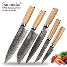 Sunnecko 5PCS Damascus Steel Knife Set Chef Kitchen Knives Japaness VG10 Core Blade Professional Original Wood Handle