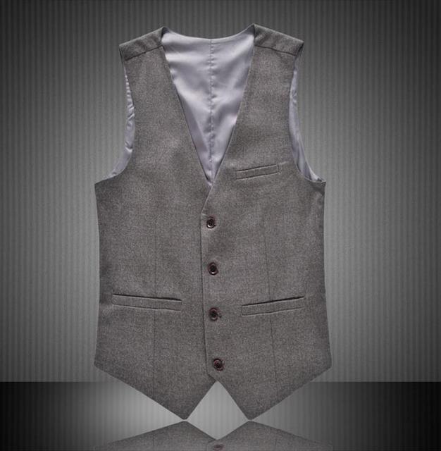 2016 New Men's Clothing British Style Slim Colete Masculino Cotton Sleeveless Jacket Waistcoat Men Suit Vest big size M-6XL