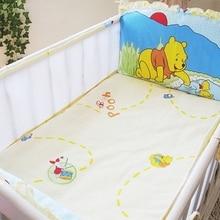 Promotion! 5PCS Mesh Baby bedding Bumper Sets Newborn 100% cotton Cot Bedding kit crib set ,(4bumpers+sheet)