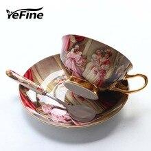 YeFine высококачественные кофейные чашки из костяного фарфора, винтажные керамические чашки с остеклением, расширенные чайные чашки и наборы блюдец, роскошные подарки