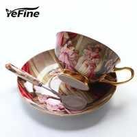 Tasses à café en porcelaine d'os de haute qualité YeFine tasses en céramique Vintage tasses à thé et soucoupes avancées vitrées ensembles cadeaux de luxe