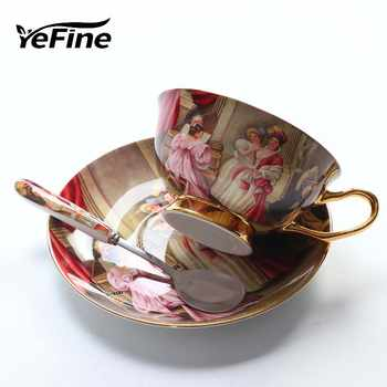 YeFine High Quality Bone Porcelain Coffee Cups Vintage Ceramic Cups On-glazed Advanced Tea Cups And Saucers Sets Luxury Gifts - Category 🛒 Home & Garden