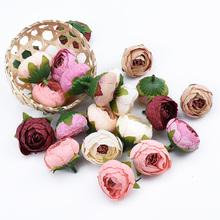 3 sztuk małe pąki herbaty róże głowy 4cm sztuczne kwiaty ściany home decor diy bride broszka scrapbooking prezenty cukierki box sztuczne kwiaty tanie tanio ZQCY Rose Kwiat Głowy Jedwabiu Wedding