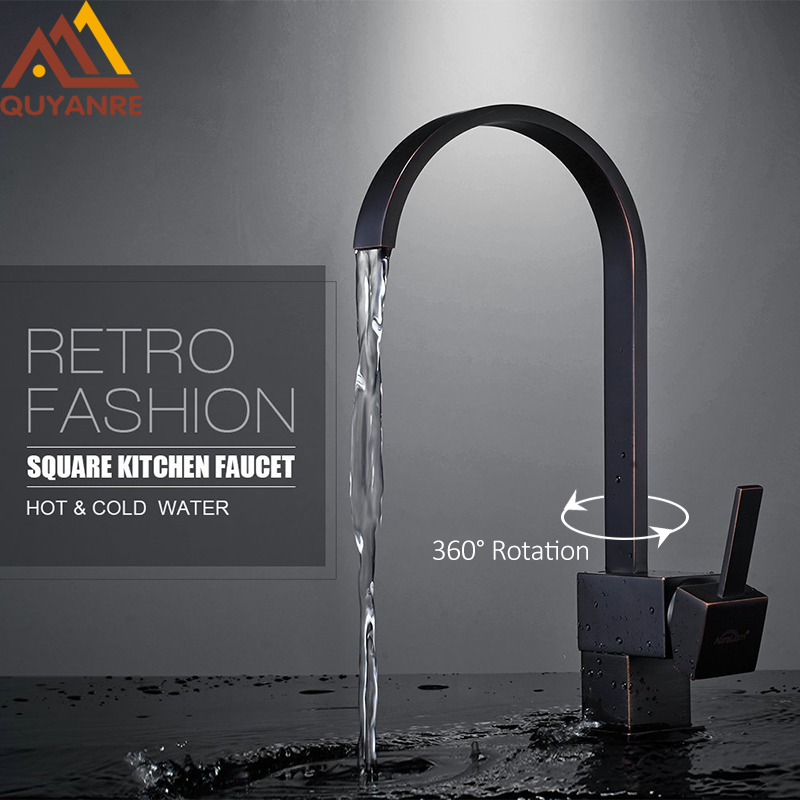 Quyanre Black ORB Square Kitchen Sink Faucet 360 Rotation Chrome Single Handle Mixer Tap torneira cozinha Square Swivel Faucet