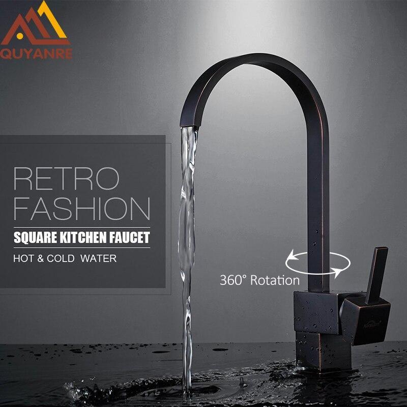 Quyanre Black ORB Square Kitchen Sink Faucet 360 Rotation Chrome Single Handle Mixer Tap Torneira Cozinha