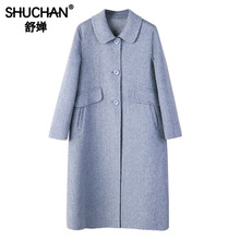 Shuchan Women Long Coat Woolen Blend Womens Outerwear New Items 2019 Warm for A Woman Casaco Feminino winter 18136