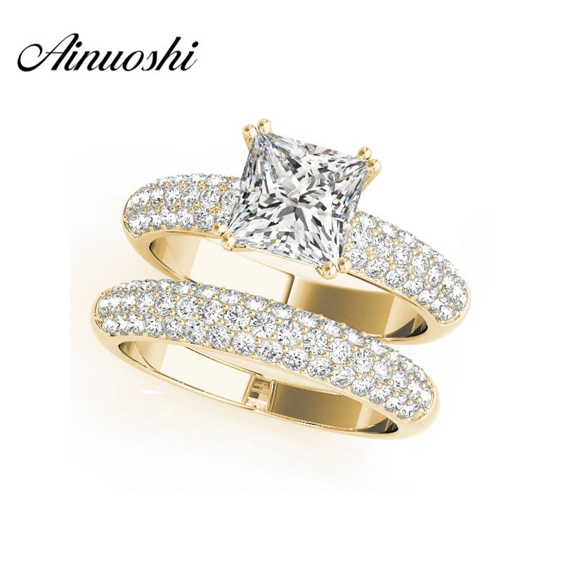 AINUOSHI 925 Sterling Silver Yellow Gold Color 4 Prongs Bridal Ring Sets 1.5ct Princess Cut Wedding Silver Sona Ring Set Jewelry 0 5ct 3 prongs 925 sterling silver ring sona diamant ring female heart gold plated ring love letter engrave ring yd