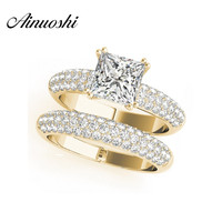 AINUOSHI 925 Sterling Silver Yellow Gold Color 4 Prongs Bridal Ring Sets 1.5ct Princess Cut Wedding Silver Sona Ring Set Jewelry