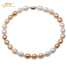 JYX charming necklace Multi-Color 12-15mm Seashell Pearl Drop shaped Beads Necklace high quality 18 elegant jewelry for women