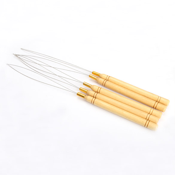 New 5Pcs Wooden Handle Hair Extensions Loop Needle Threader Pulling Tool Hot Selling H7J ...