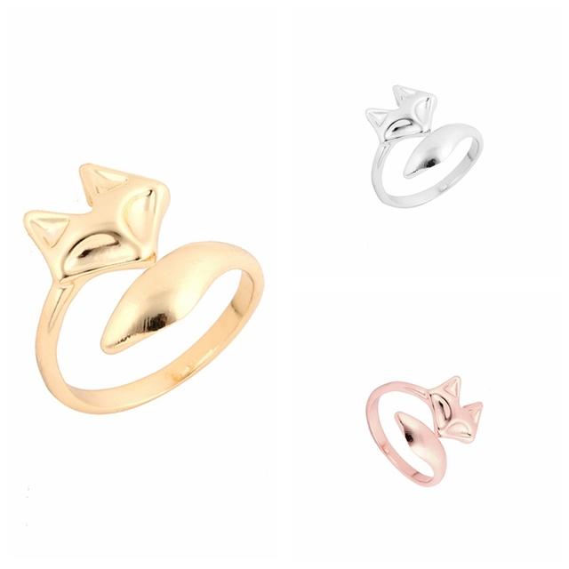 yiustar New Arrival Fashion Gold Color Adjustable Cute Animal Fox Ring Simple We