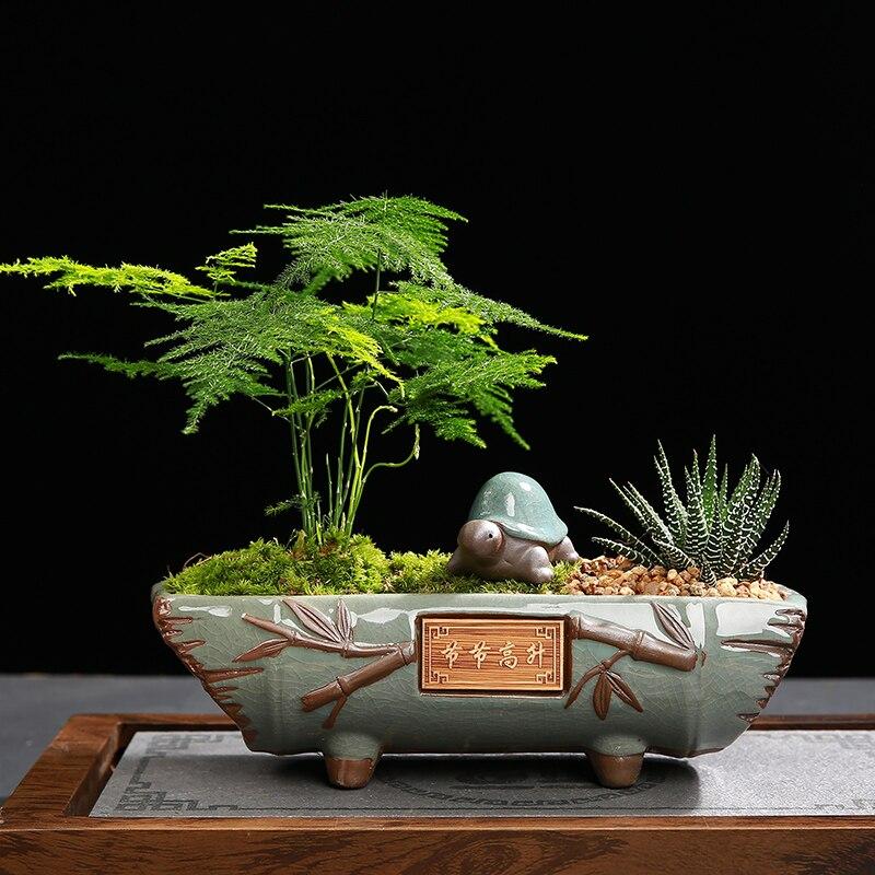 Style chinois plantes succulentes planteur en céramique processus pot de fleurs grands Pots de fleurs bureau en pot titulaire maison bureau décoration