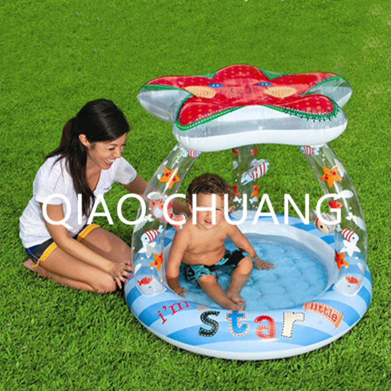 Baby Sun-shade Inflatable Bath Tub Creative Cartoon Printing Starfish Swimming Pool PVC Thicken Wear-resistant G976