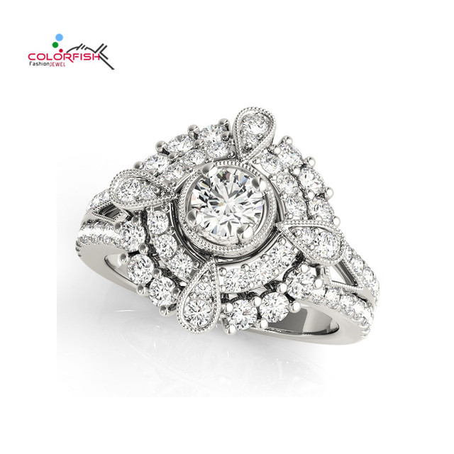 COLORFISH Round Pear Shape Halo Antique Scroll Engagement Ring for