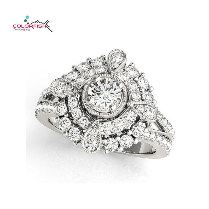 COLORFISH ronde forme de poire Halo Antique bague de fiançailles défilement pour les femmes bijoux de mode femme 925 bague de mariage en argent Sterling