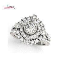 Colorfish pera redonda forma halo Antique scroll anillo de compromiso para las mujeres joyería de moda femenina anillo de bodas de la plata esterlina 925