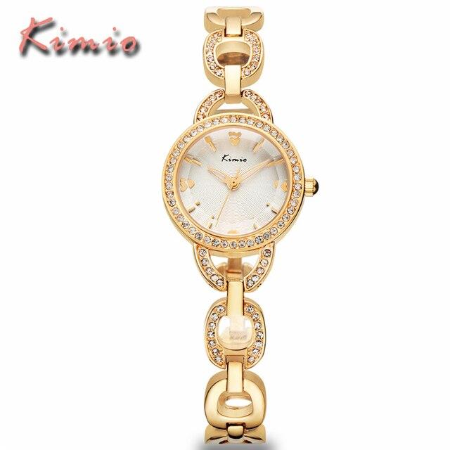 KIMIO Ladies Watches Luxury Fashion Women Dress Rhinestone Quartz Watches Gold Stainless Steel Chain Bracelet Watch Reloj Mujer