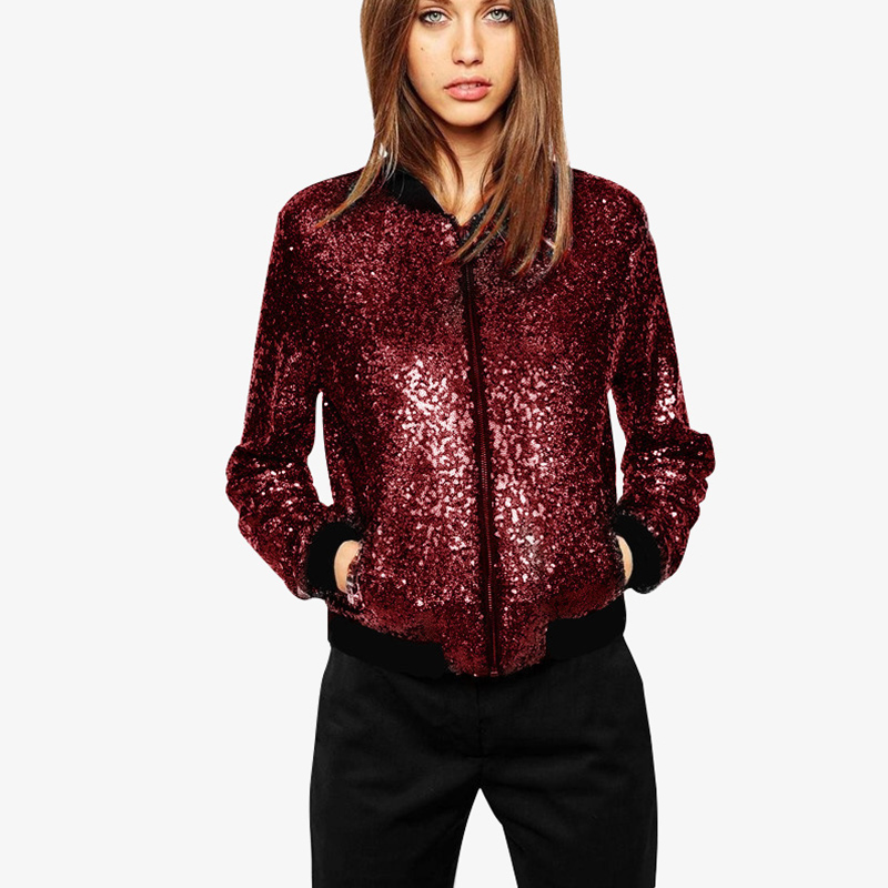 Sequined Loose Bomber Jacket 2