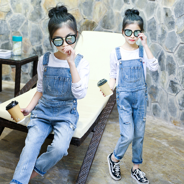 599413cfc5c Denim Jumpsuit For Girls Ripped Jeans For Kids Teens Teenagers Baby  Overalls Rompers 4 8 6 7 8 9 10 11 12 13 Years School Pant. 1 order