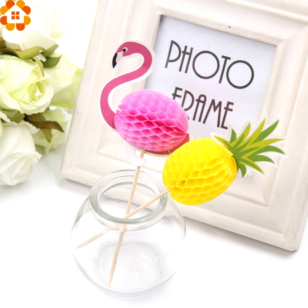 New!40PCS DIY Flamingo&Pinapple Cupcake Toppers Cakes Topper Picks Wedding/Birthday Party Decoration Baby Shower Supplies