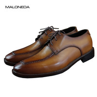 MALONEDA Handmade Threading High quality Goodyear Handcraft Genuine Leather Formal Dress Derby Shoes for Men Business Office