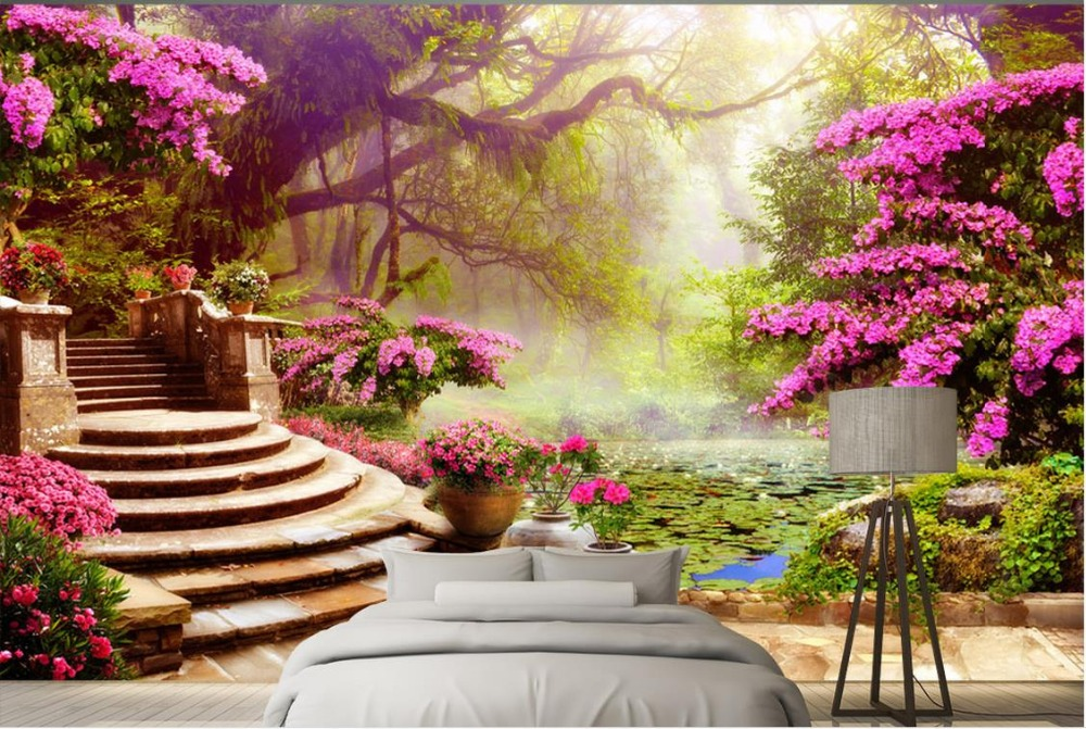 Custom 3d Wall Murals Background Garden Garden Scenery