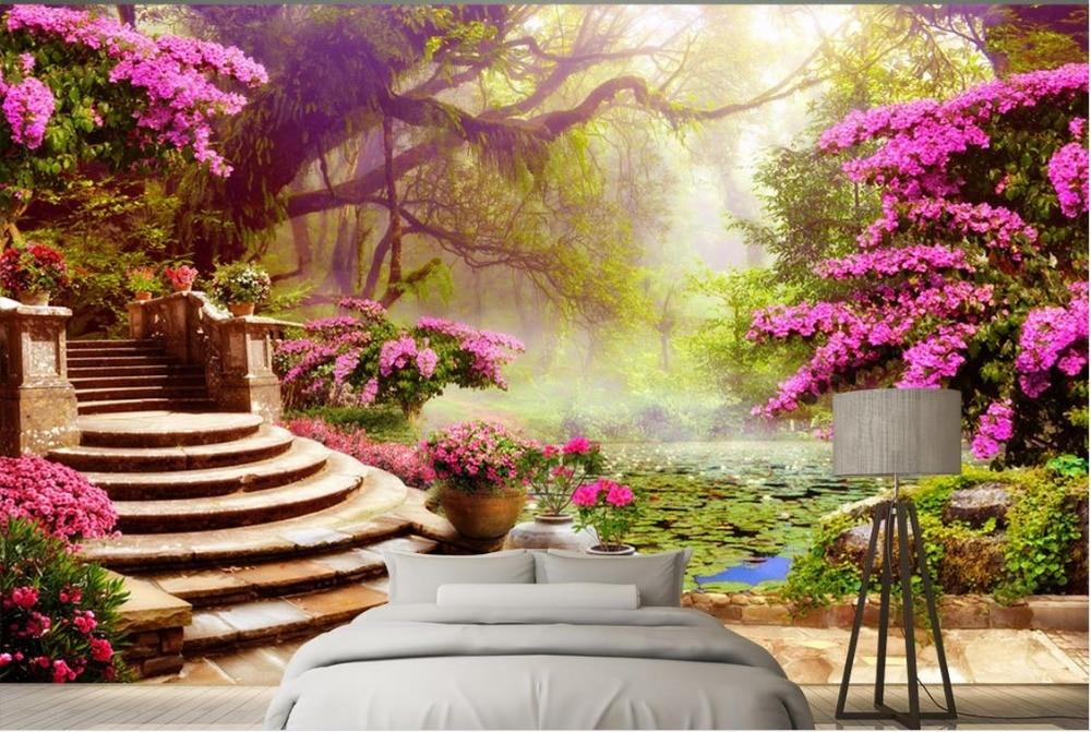 3d Wallpaper For Living Room Wall Custom 3d Wall Murals Background Garden Garden Scenery
