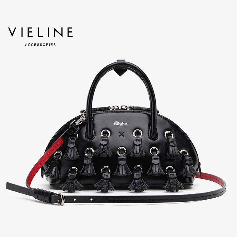 Célèbre marque de créateurs, Vieline femmes en cuir véritable grand gland Shell sac femmes en cuir de vache sac à bandoulière dame sac à main