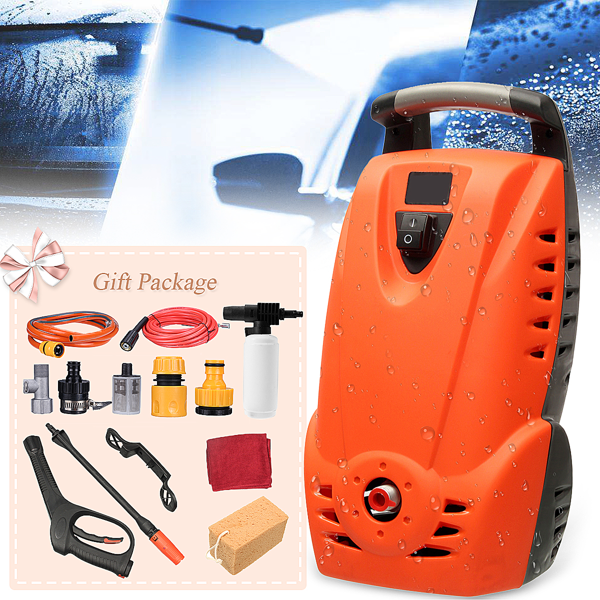 High Power Outdoor High Pressure Electric Pressure Washer Hose Nozzle Portable Machine Car Cleaner Water Shape Can Changed