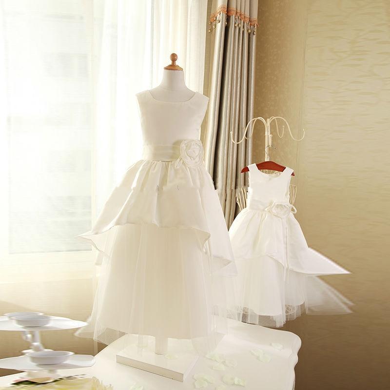 2017 Real Picture Cheap Ivory Satin Flower Girl Dresses Floor Length Infant Toddler Girls First Communion Dress